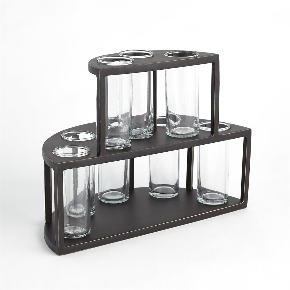Global Views - Two Tier Tube Flower Holder with Glass Tub
