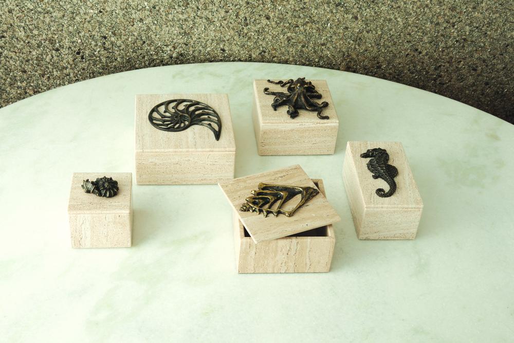 Global Views - Bronze Seahorse Travertine Box
