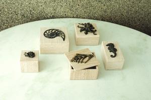 Thumbnail of Global Views - Bronze Seahorse Travertine Box