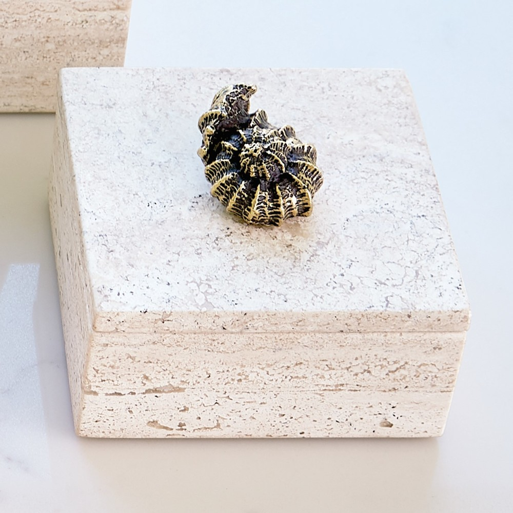 GLOBAL VIEWS - Bronze Snail Travertine Box