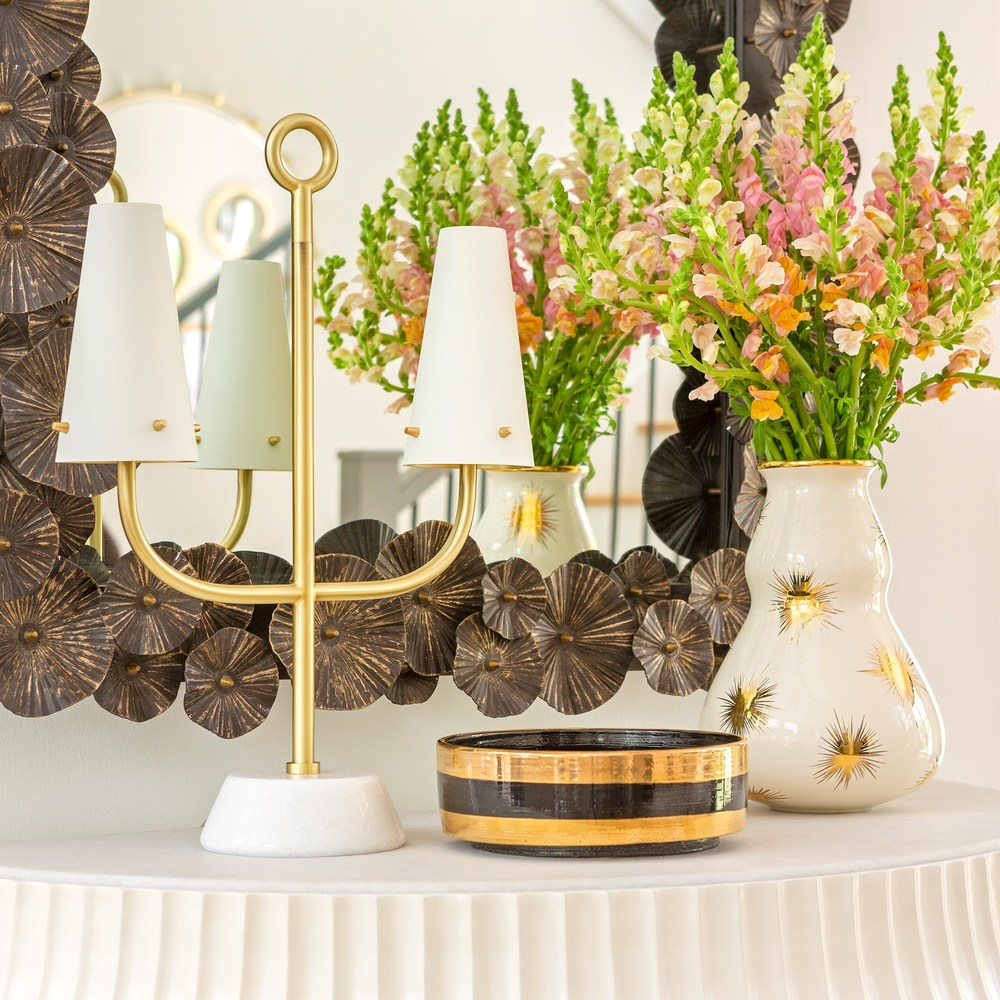 Global Views - Black/Gold Scratched Centerpiece, Small