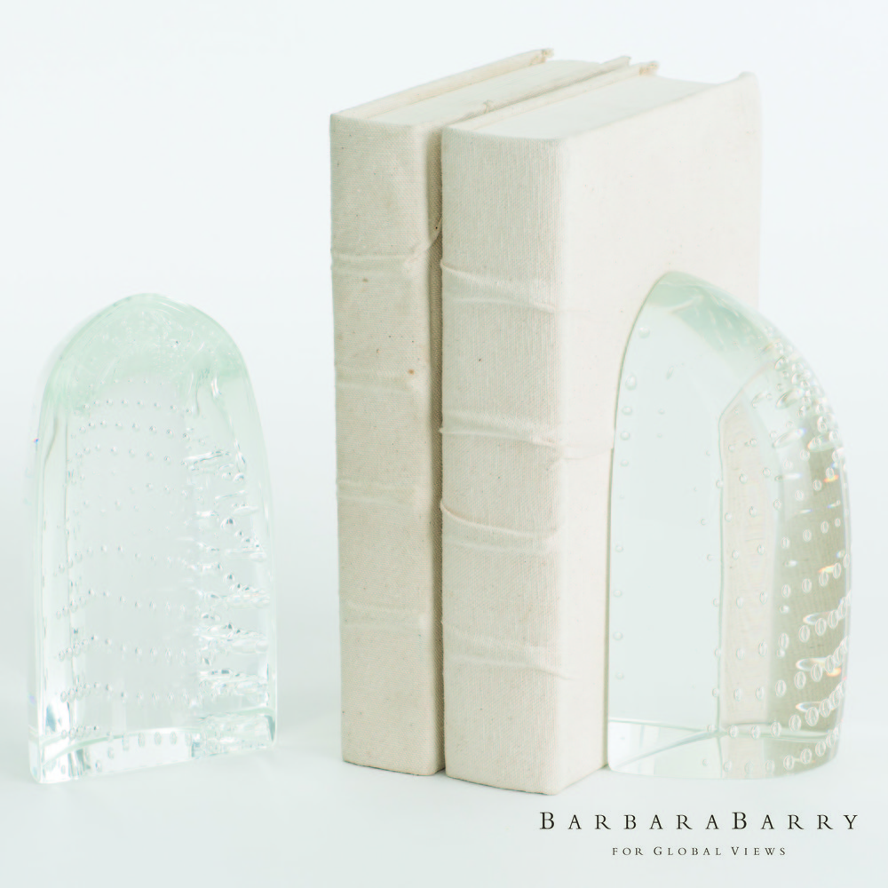 GLOBAL VIEWS - Iceberg Bookends, Dewdrop Clear, Pair