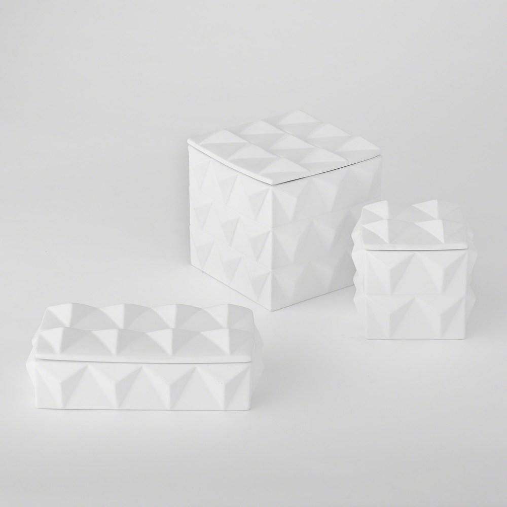 Global Views - Braque Box, Matte White, Small