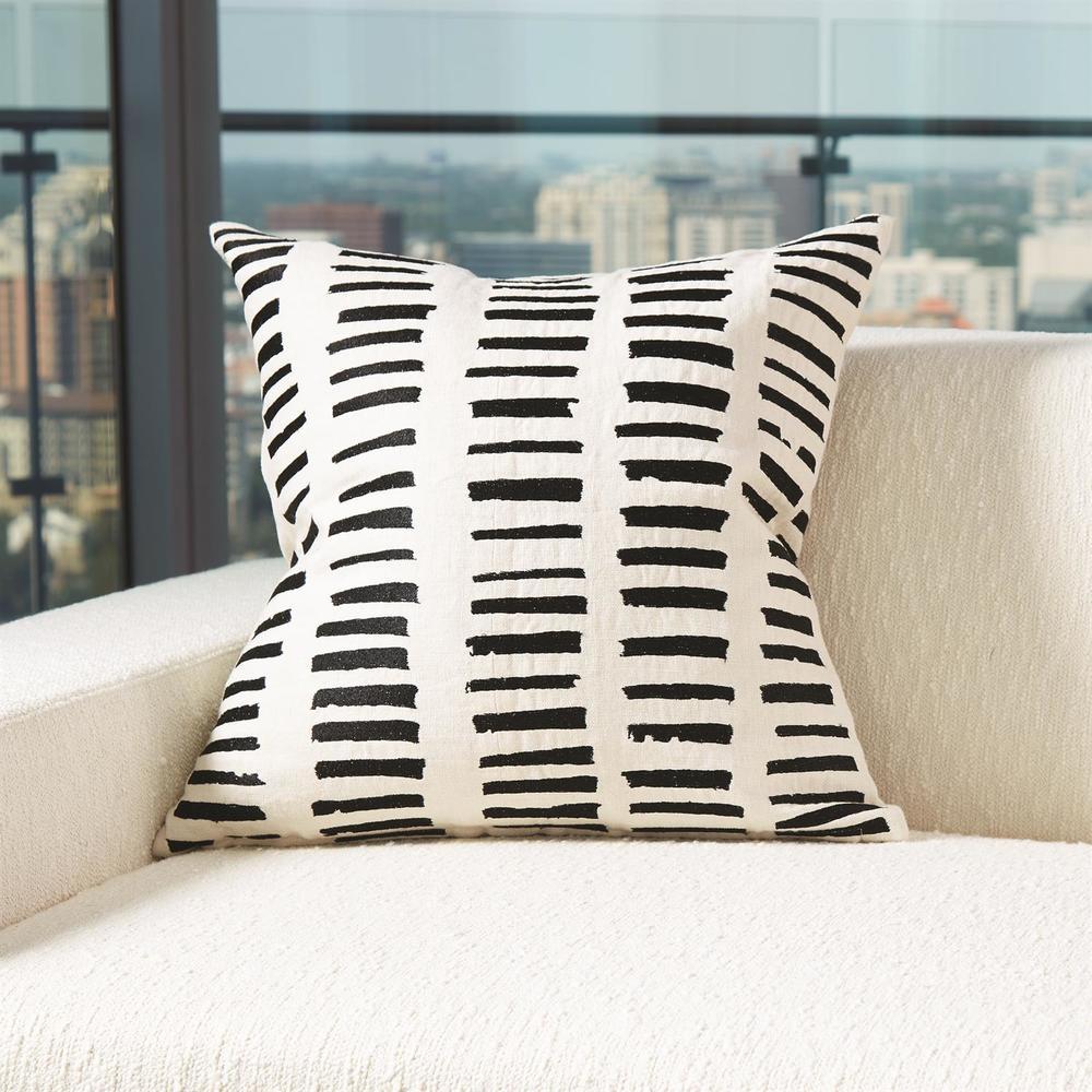 Global Views - I See You Hear Pillow, Beige/Black