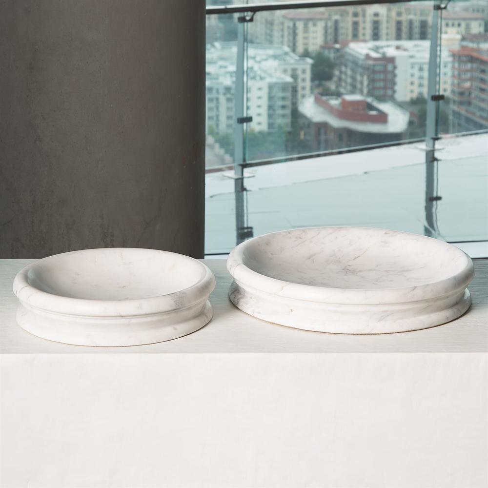 Global Views - Caroline Centerpiece, White Banswara Marble, Large