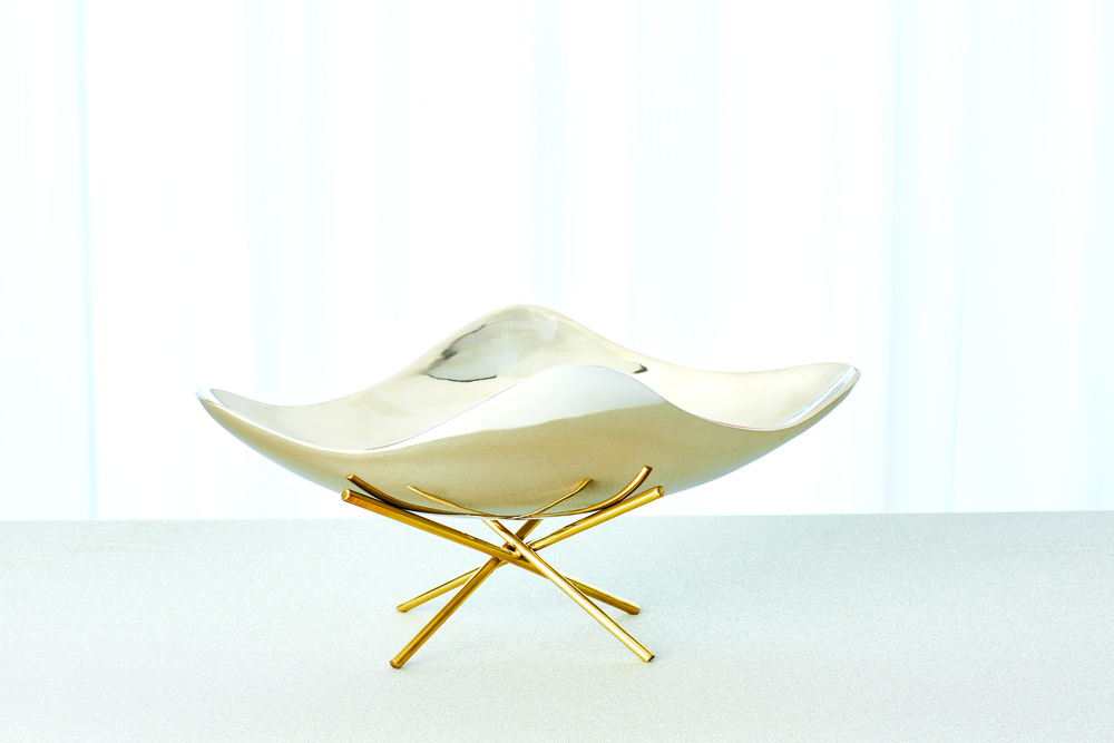 GLOBAL VIEWS - Thistle Decorative Bowl with Brass Stand