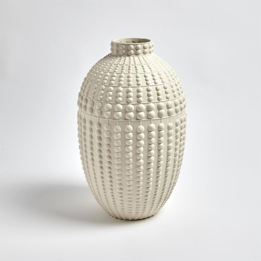 GLOBAL VIEWS - Nail Head Vase, Rustic White, Large