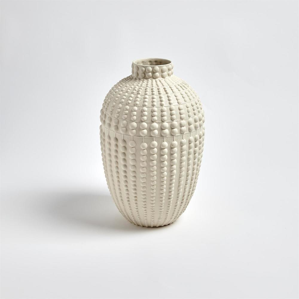 GLOBAL VIEWS - Nail Head Vase, Rustic White, Small