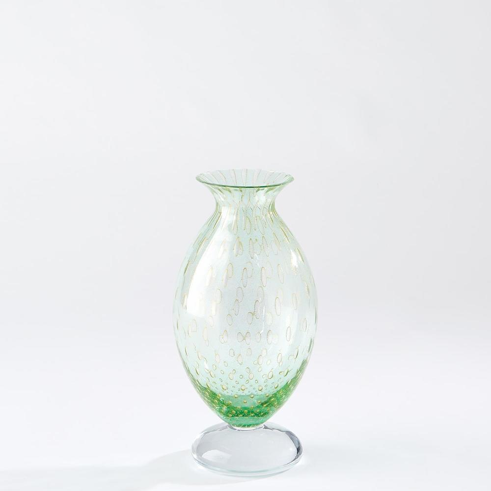 Global Views - Granilla Green Vase with Golden Bubbles