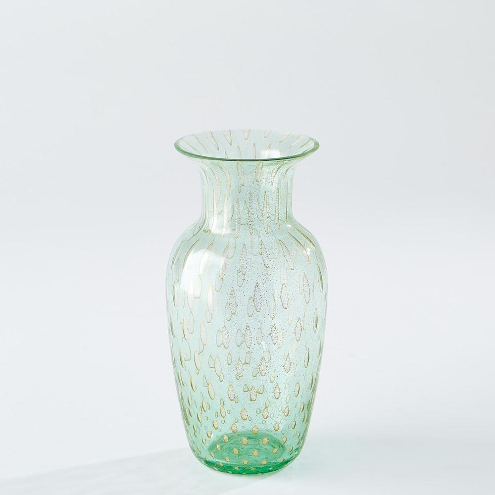 Global Views - Granilla Green Urn with Golden Bubbles