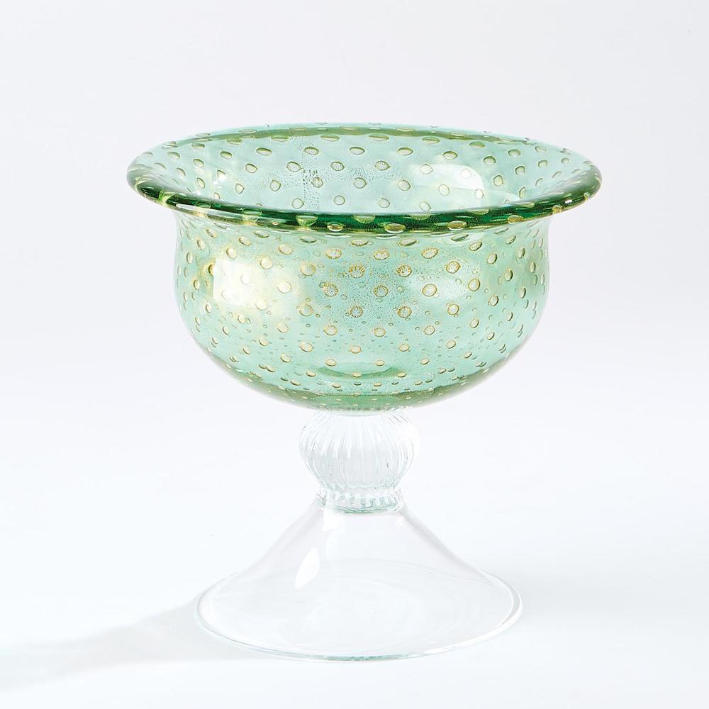 GLOBAL VIEWS - Granilla Green Pedestal Bowl with Golden Bubbles
