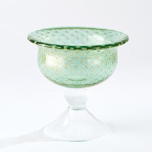 Thumbnail of GLOBAL VIEWS - Granilla Green Pedestal Bowl with Golden Bubbles