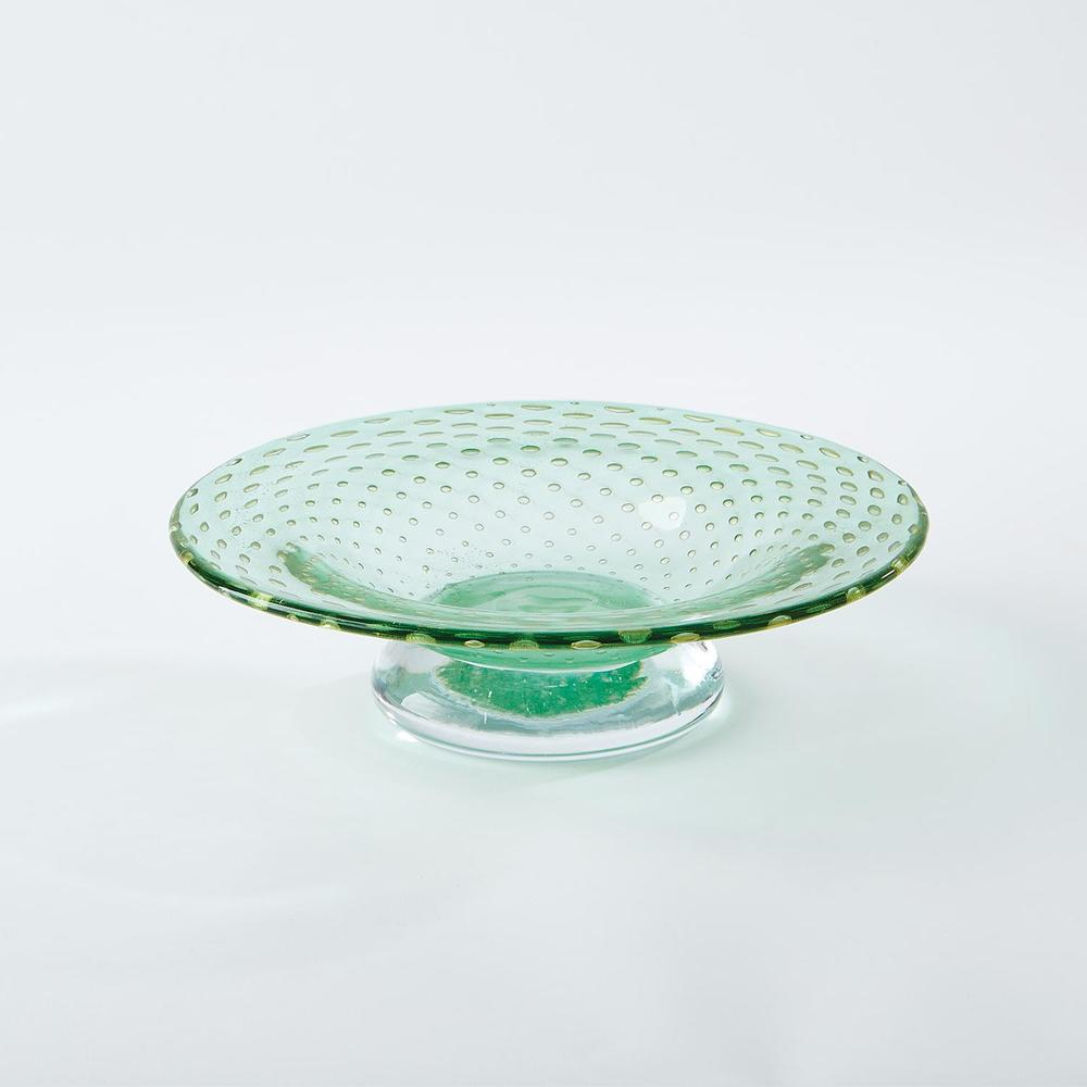Global Views - Granilla Green Footed Bowl with Golden Bubbles