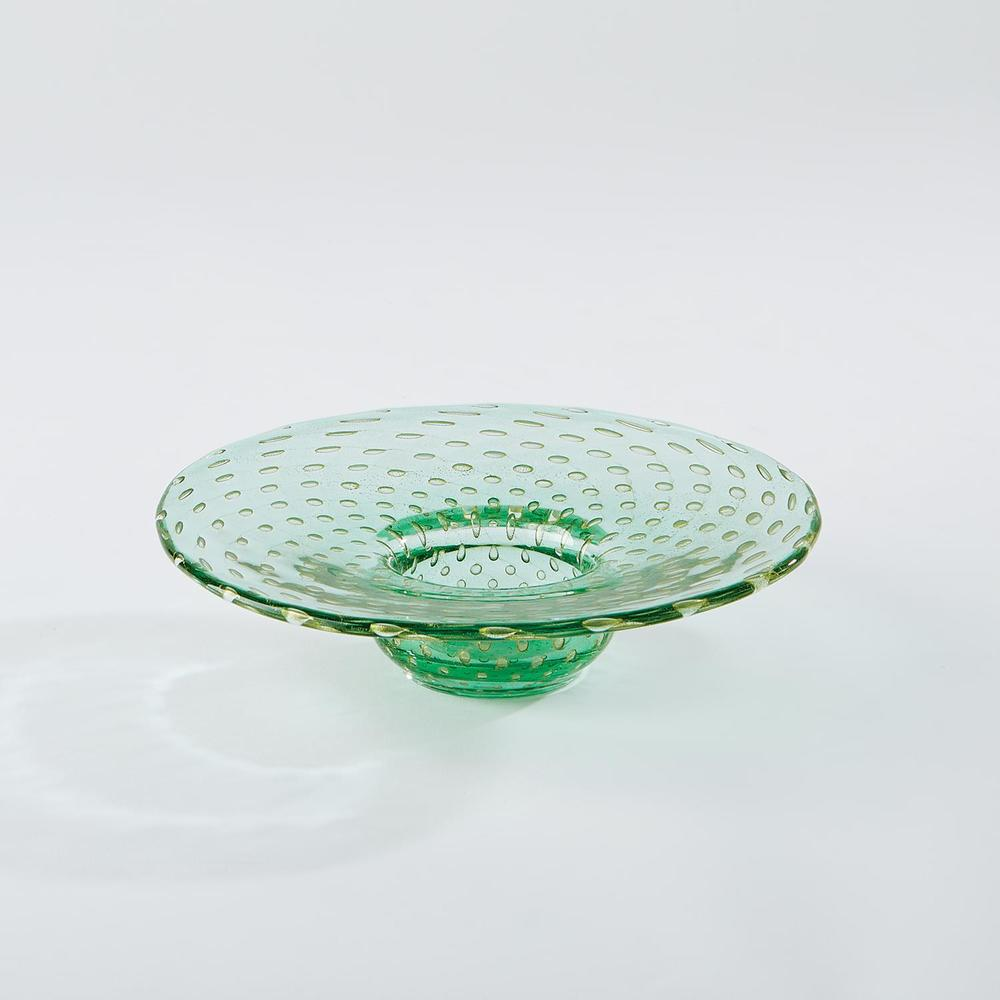 GLOBAL VIEWS - Granilla Green Bowl with Golden Bubbles