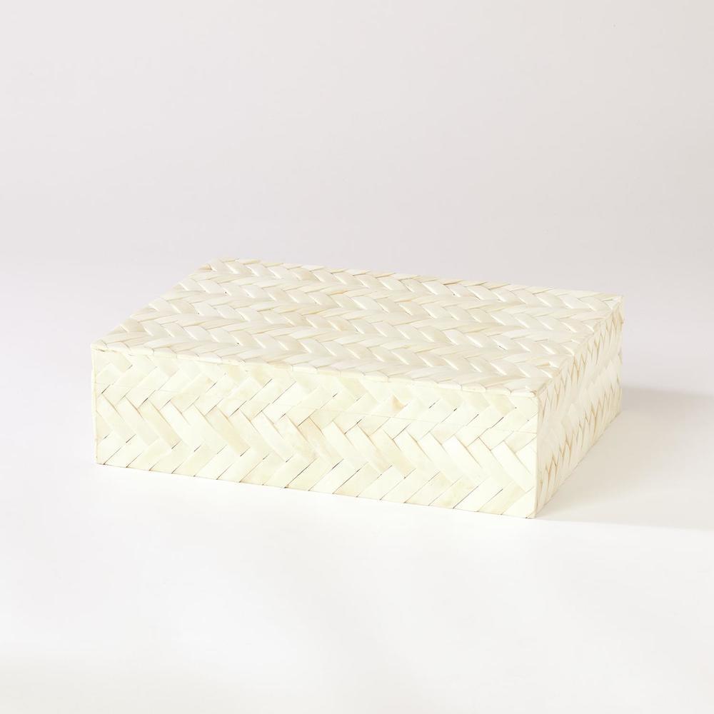 GLOBAL VIEWS - White Bone Braided Box, Large