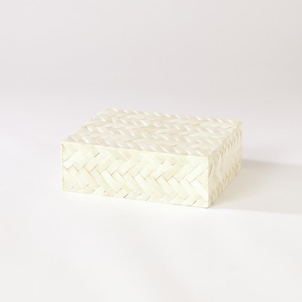 GLOBAL VIEWS - White Bone Braided Box, Small