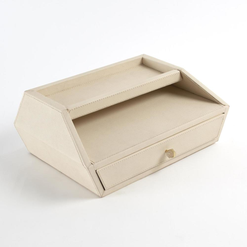Global Views - Tiffany Leather In/Out Letter Box