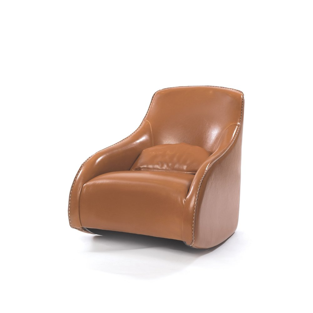 Go Home - Light Brown Contemporary Baseball Glove Leather Chair