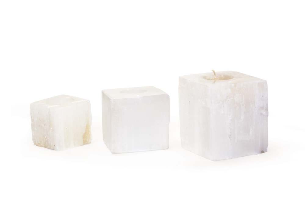 Go Home - Square Rock Crystal Votives, Set/3