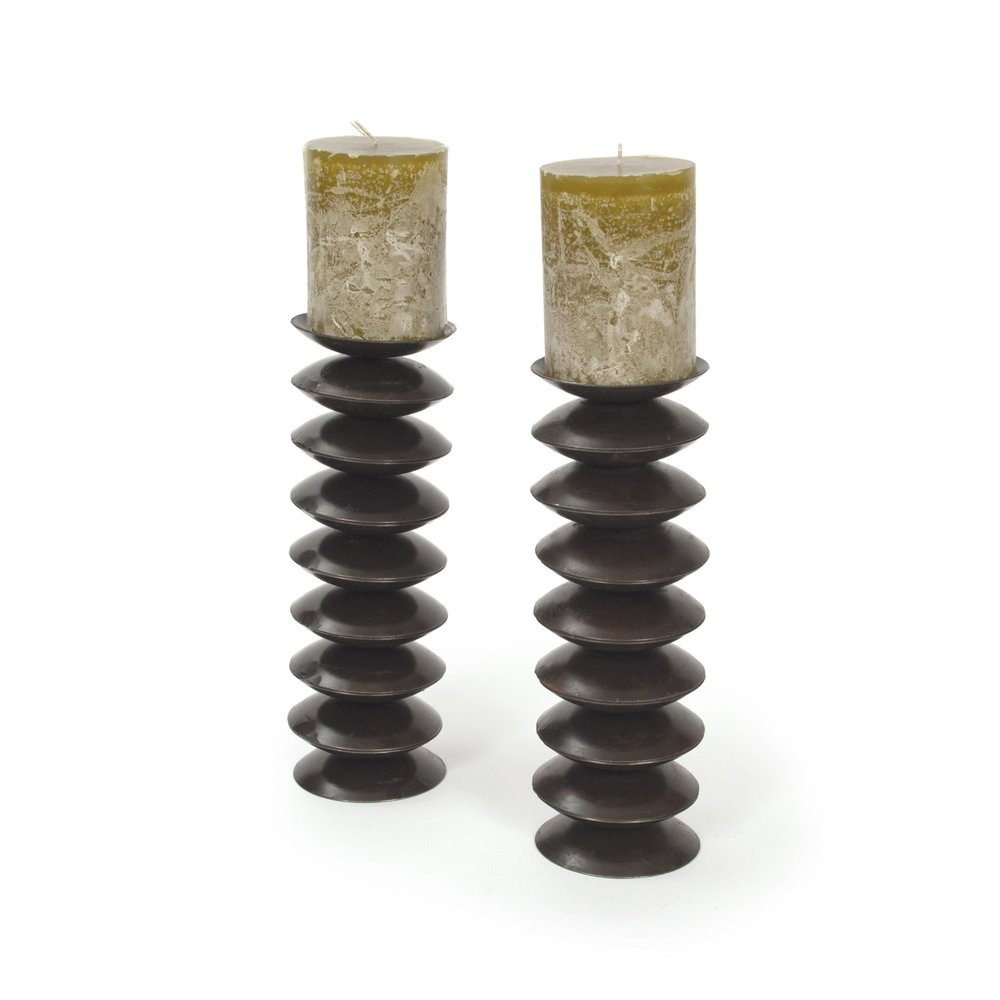 Go Home - Disc Candlesticks, Pair