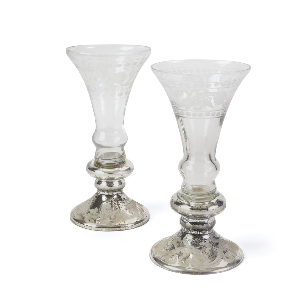 Go Home - Mercury Glass Champagne Vases, Pair