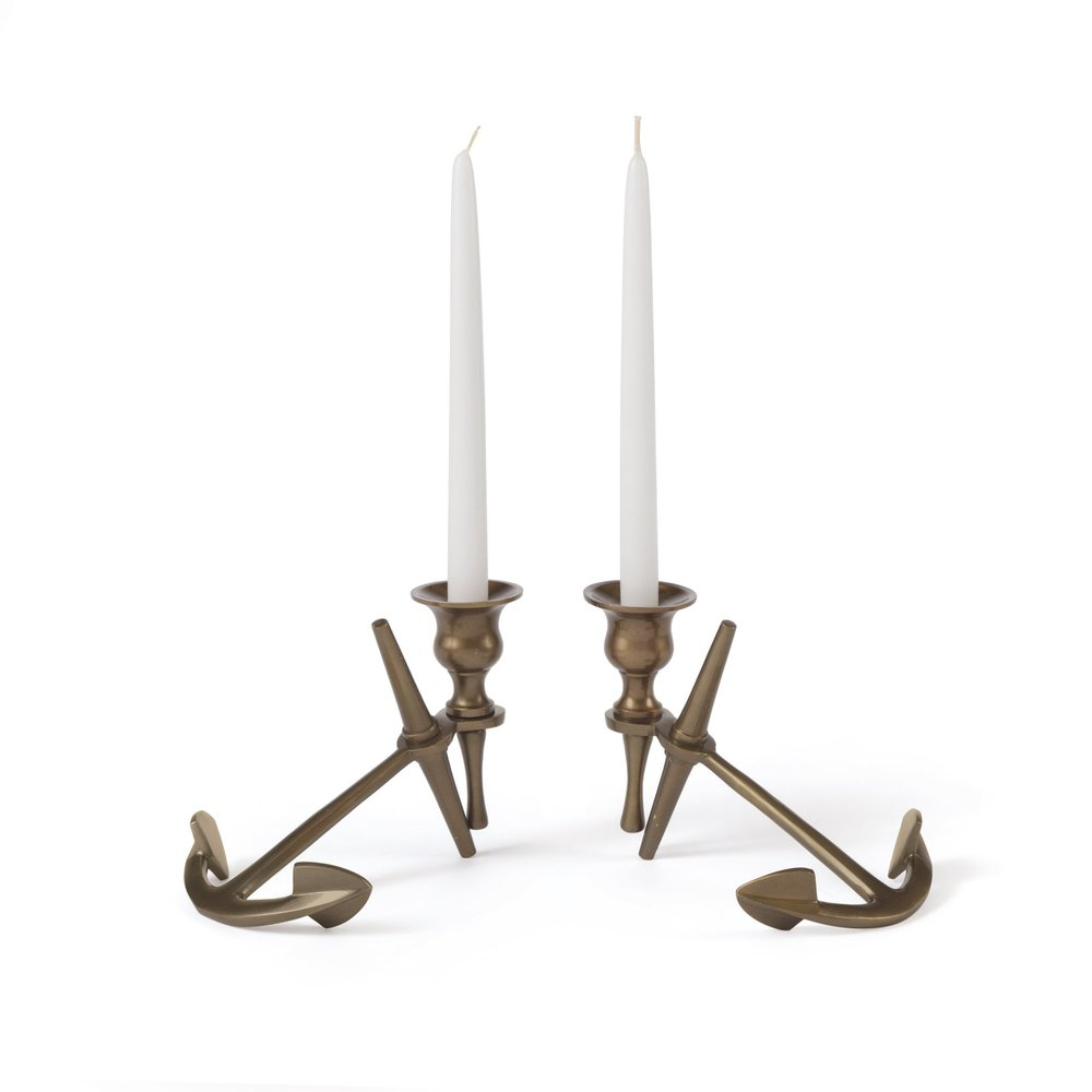 Go Home - Anchor Candlesticks, Pair