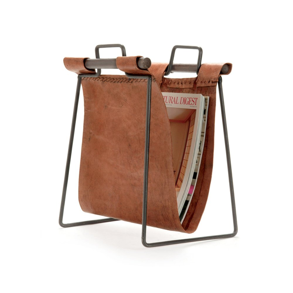Go Home - Leather and Iron Sling Magazine Stand
