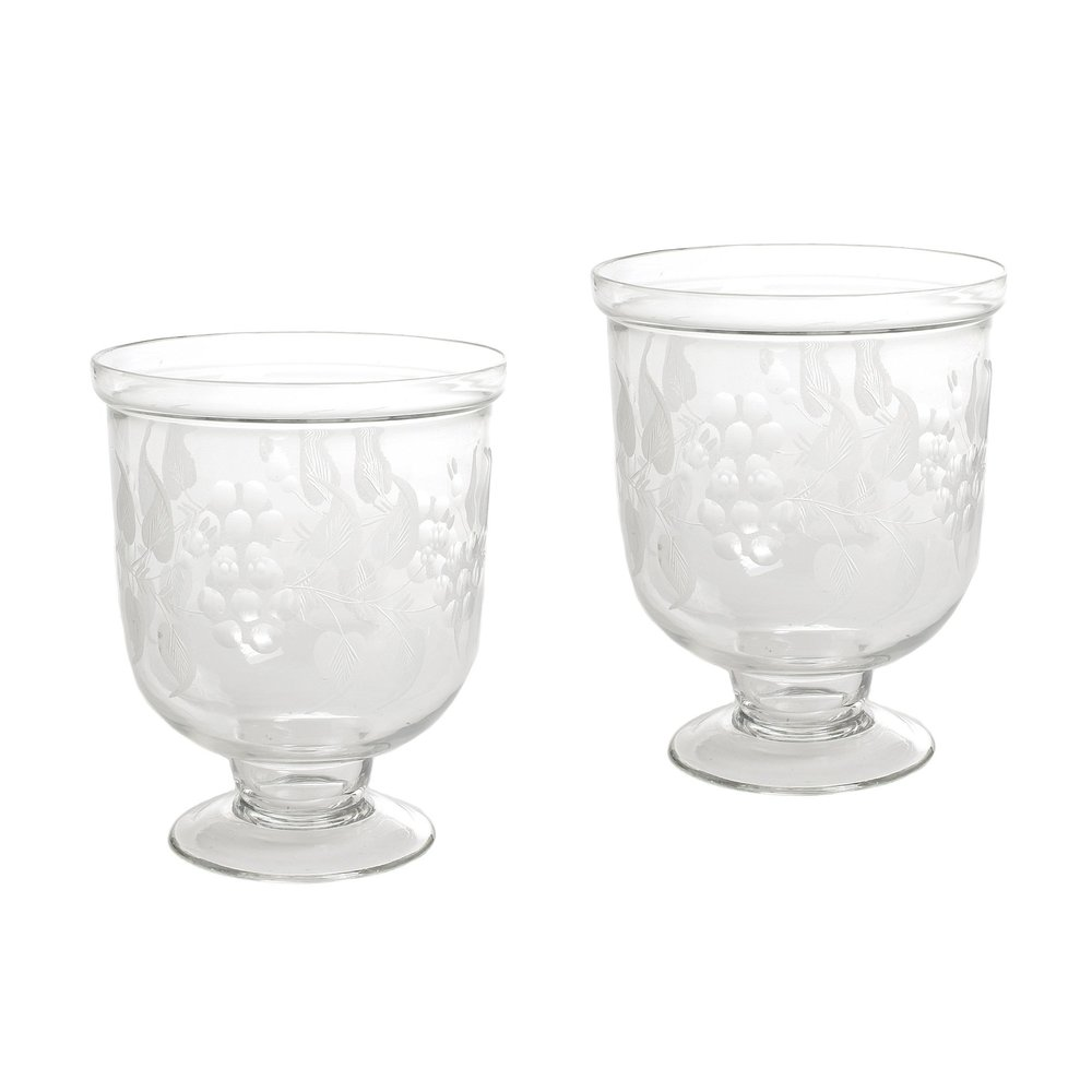 Go Home - Small Antique Leaf Etched Hurricanes, Pair