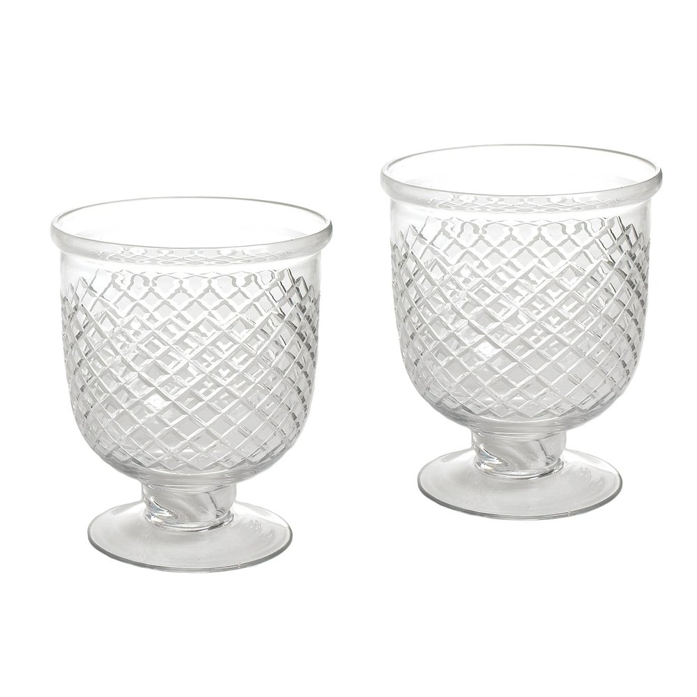 Go Home - Small Antique Diamond Cut Etched Hurricanes, Pair