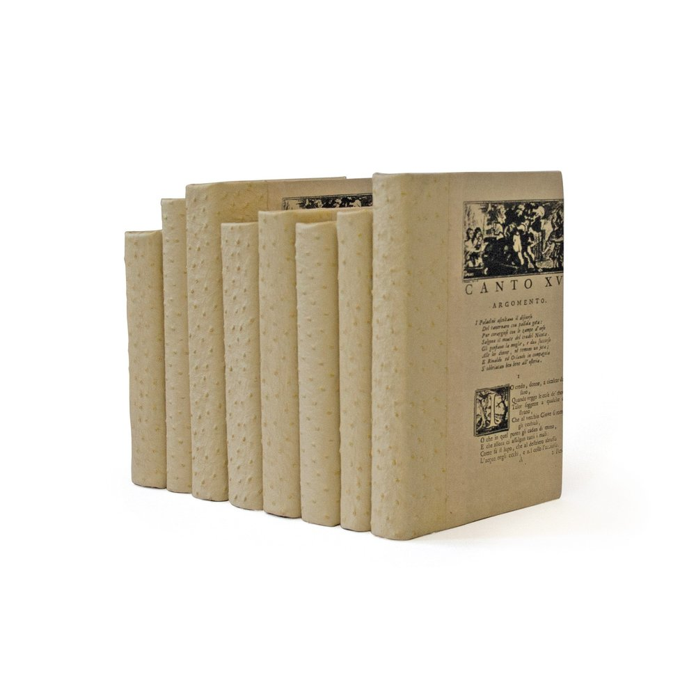 Go Home - Linear Foot of Ostrich Faux White Books