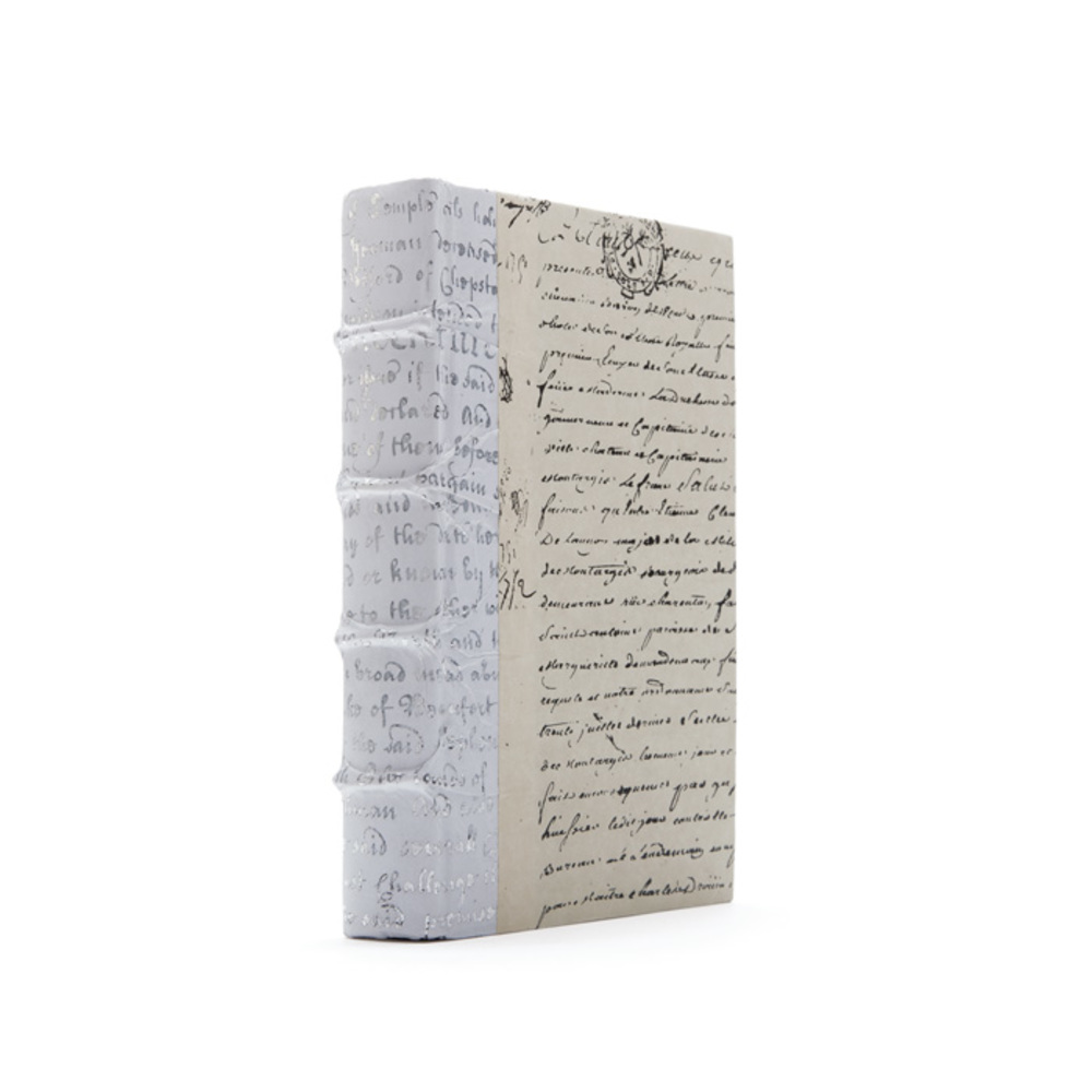 Go Home - Linear Foot of White Script Silver Leaf Books