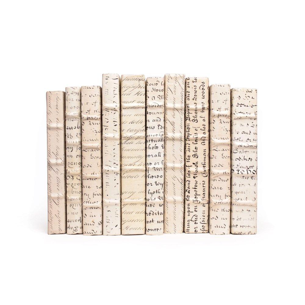 Go Home - Linear Foot of Antique Vellum Script Books