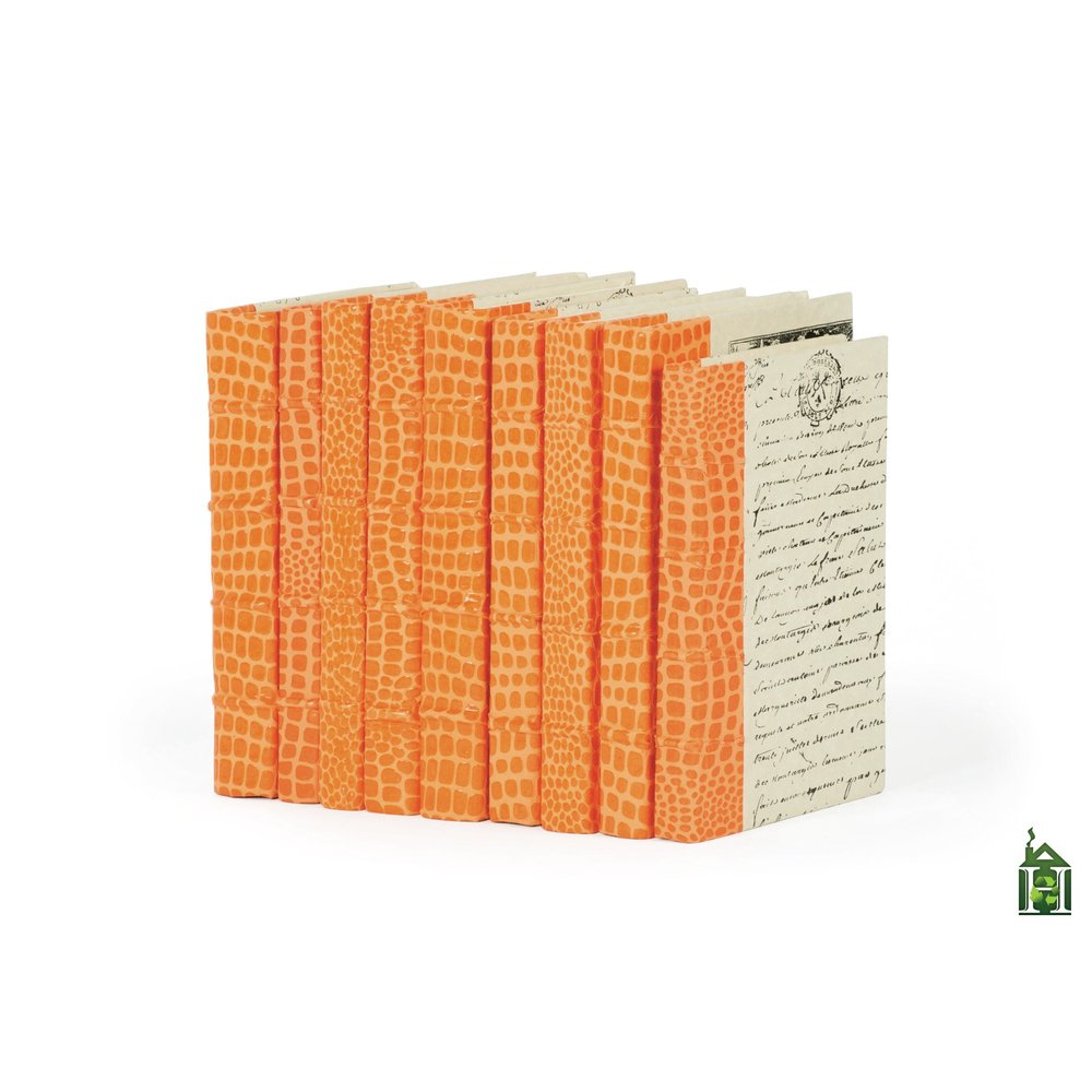 Go Home - Linear Foot of Faux Croc Orange Books