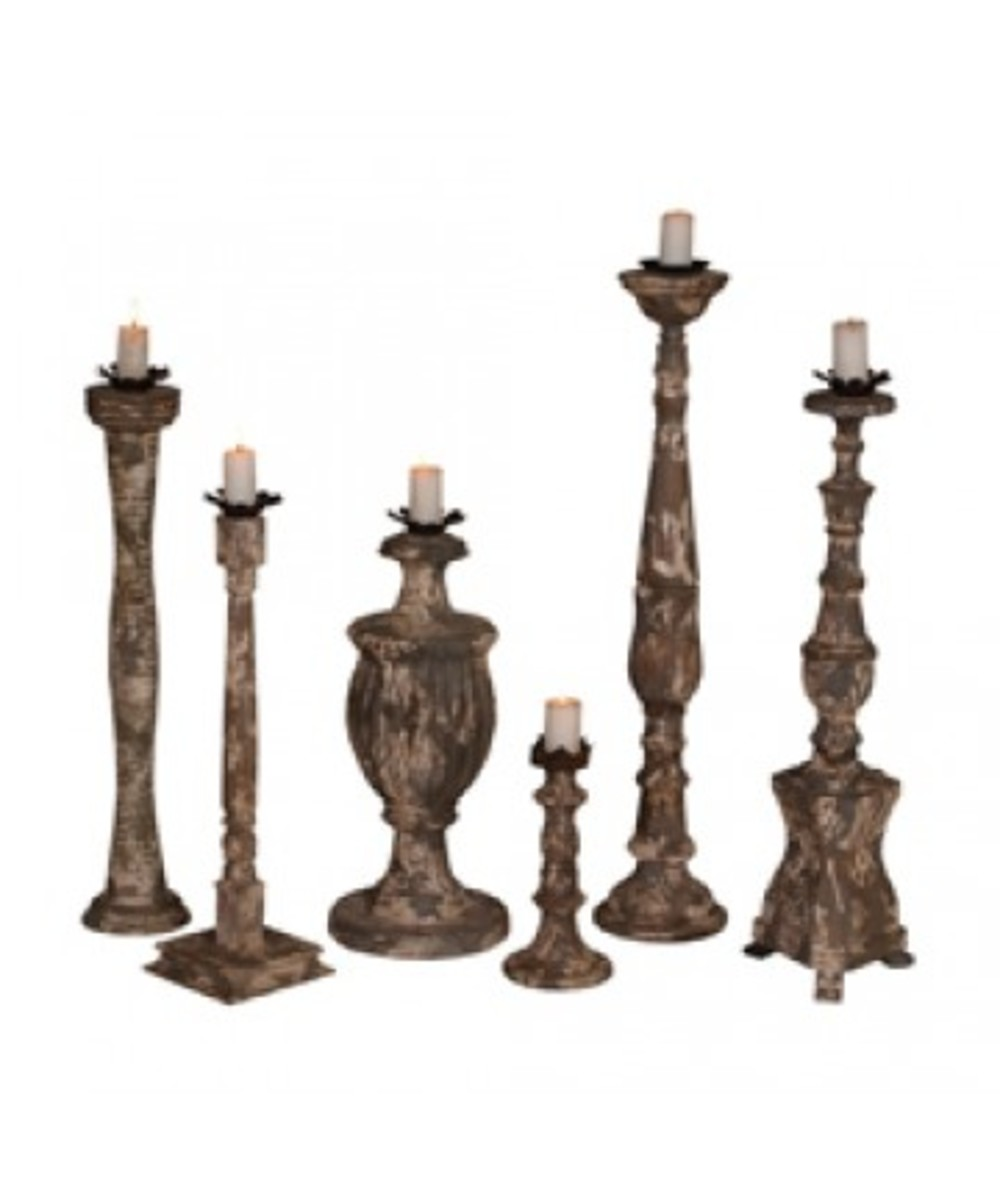 Elk Group International/Combined - Set Of Six Carved Candle Sticks