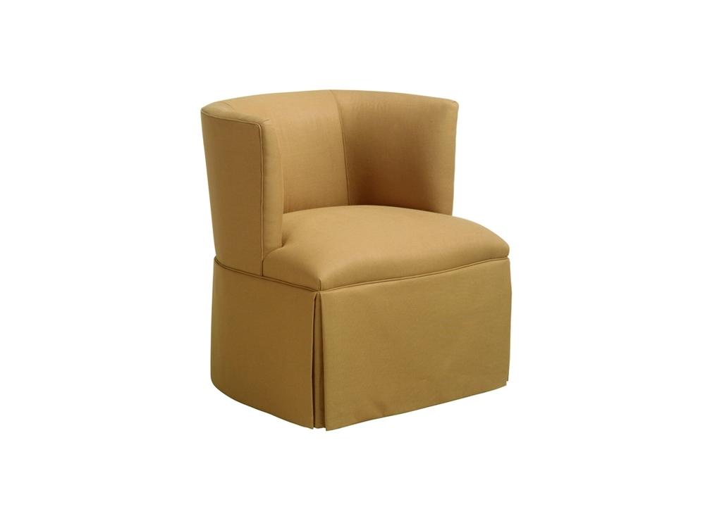 Chaddock - Petite Barrel Back Skirted Swivel Chair