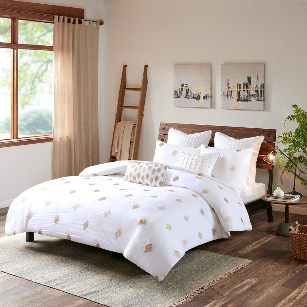 Ollix - Stella Dot 3 Piece Cotton Percale Comforter Mini Set, King/Cal King, Copper