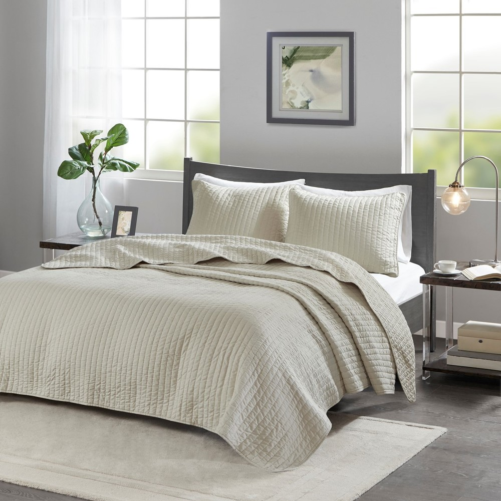 Ollix - Keaton Reversible Coverlet Set, Full/Queen, Cream