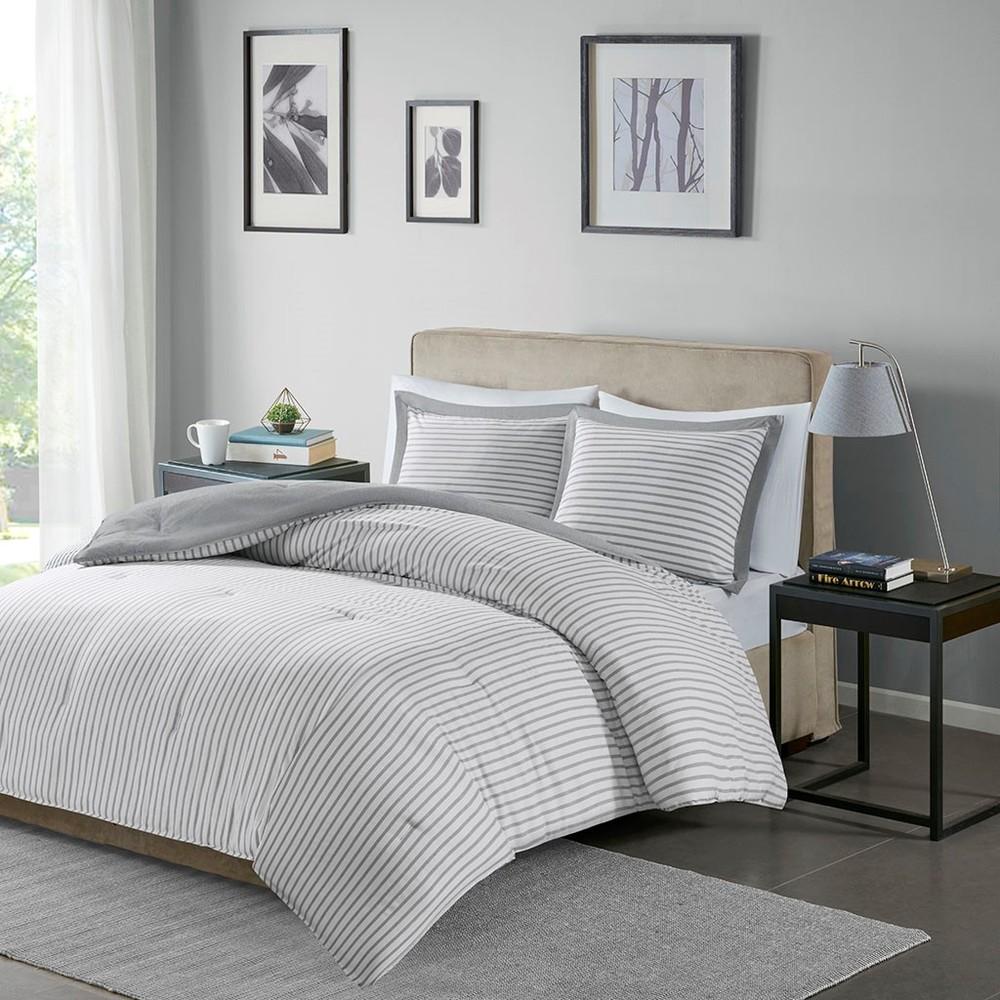 Ollix - Hayden Reversible Yarn Dyed Stripe Down Alternative Comforter Set, King/Cal King, Grey