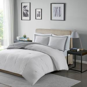 Thumbnail of Olliix - Hayden Reversible Yarn Dyed Stripe Down Alternative Comforter Set, King/Cal King, Grey