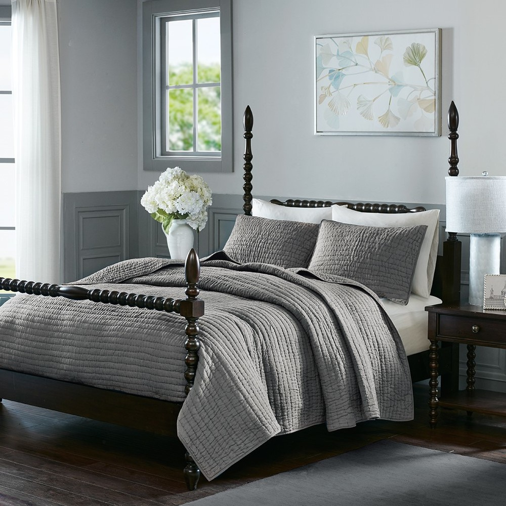 Ollix - Serene Cotton Hand Quilted Coverlet Set, King, Grey