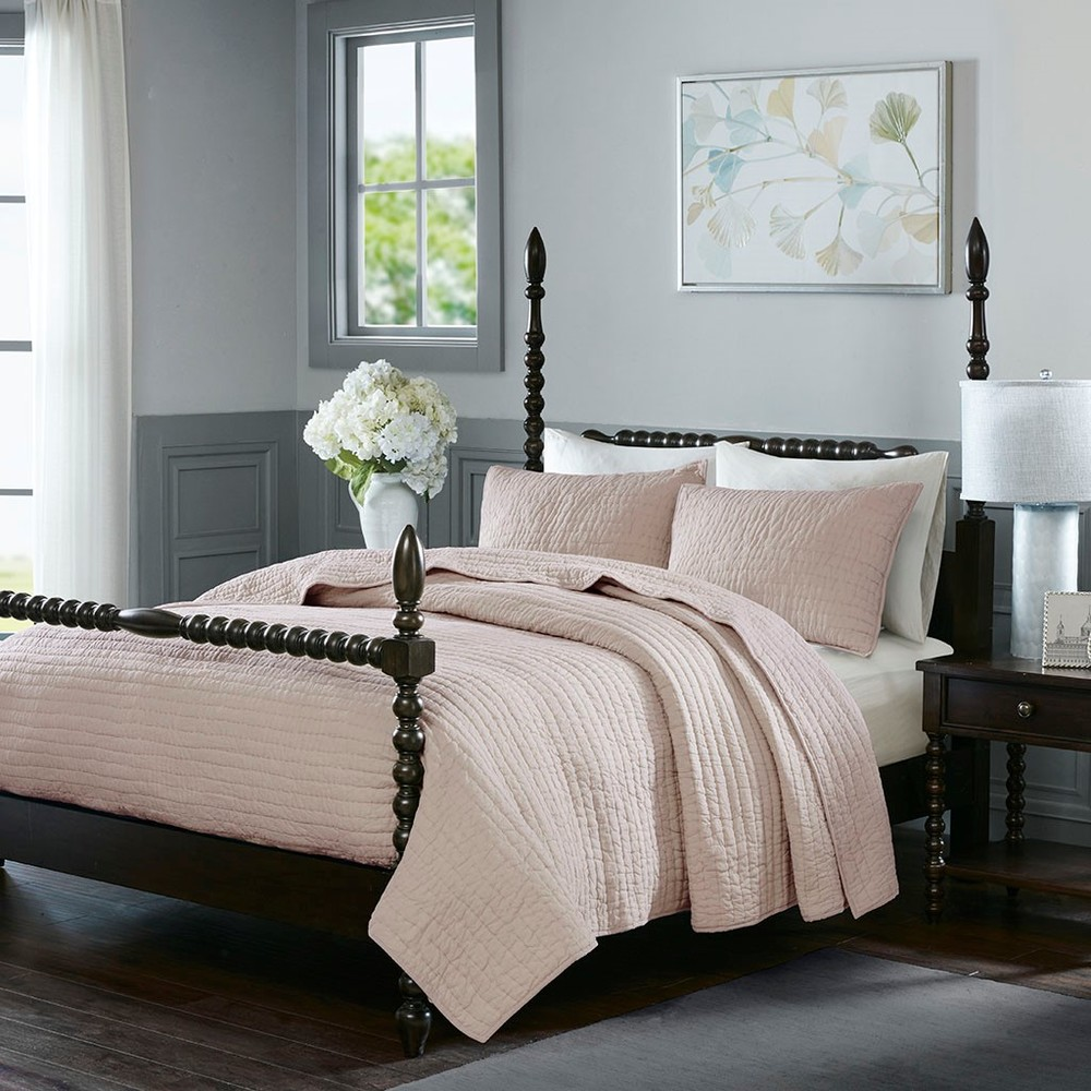 Ollix - Serene Cotton Hand Quilted Coverlet Set, King, Blush