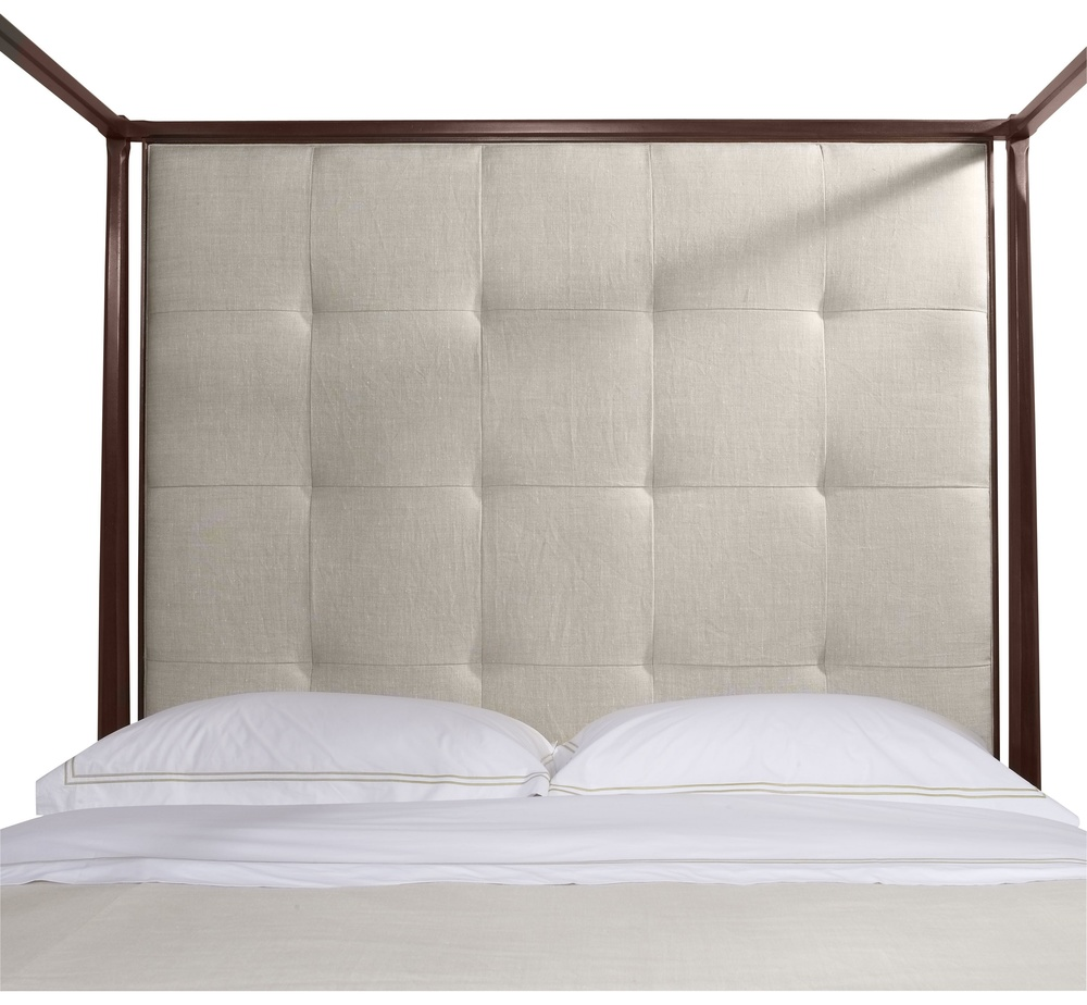 Hickory Chair - Artisan Poster Mah Queen Bed with Tall Upholstered Headboard