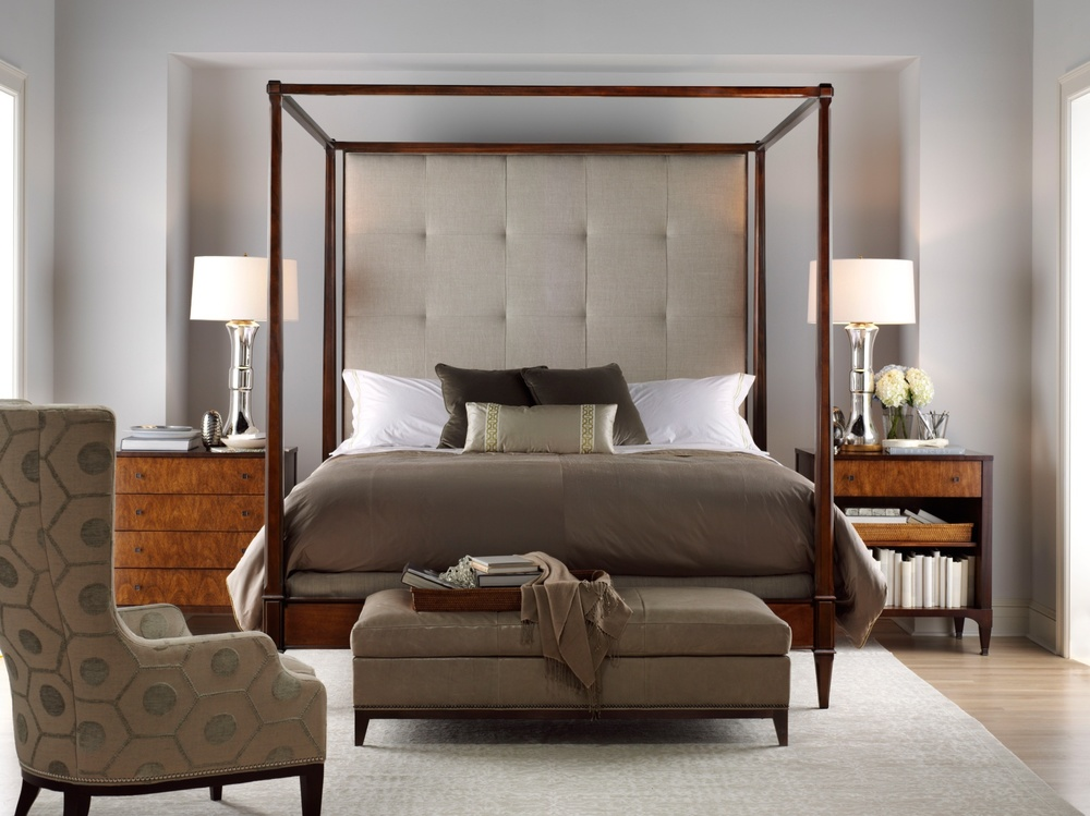 Hickory Chair - Artisan Poster Mah King Bed with Tall Upholstered Headboard