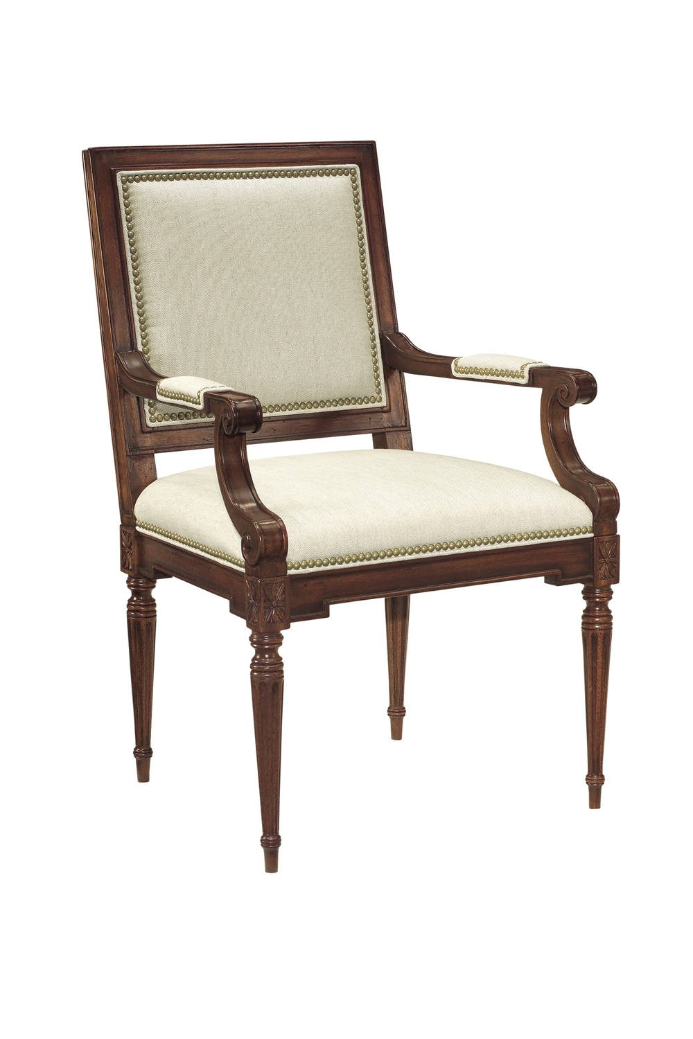 Hickory Chair - Louis XVI Square Back Arm Chair