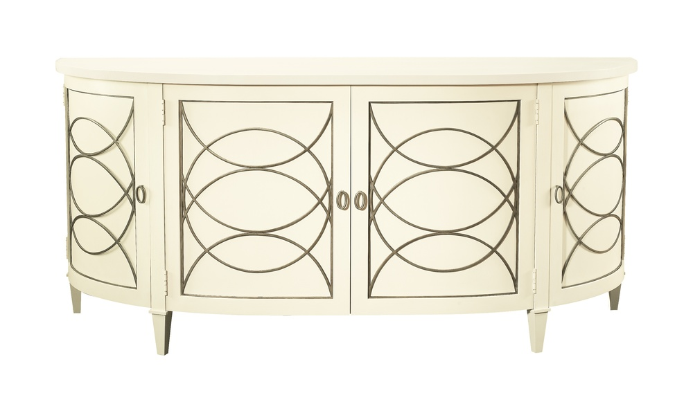 Hickory Chair - Duchamp Demi Lune Sideboard with Wood Top