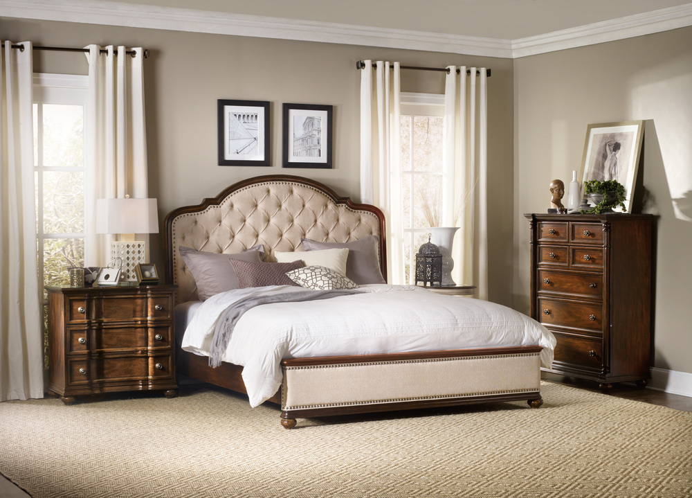 Hooker Furniture - California King Upholstered Bed with Wood Rails