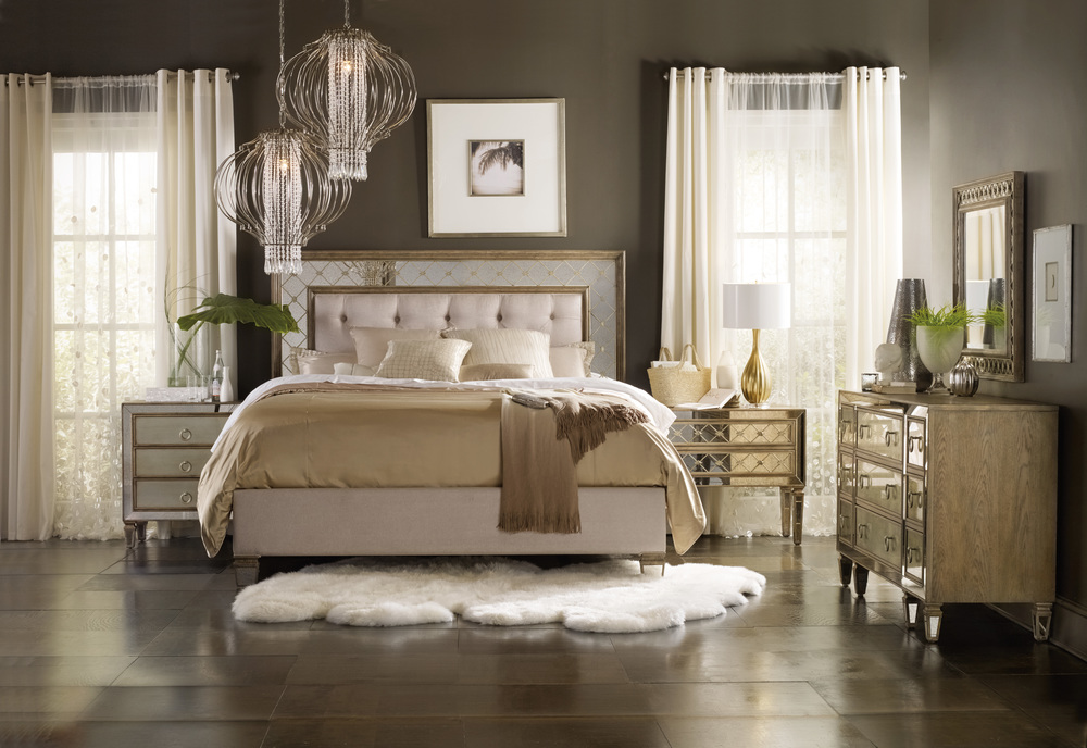 Hooker Furniture - California King Mirrored Upholstered Bed