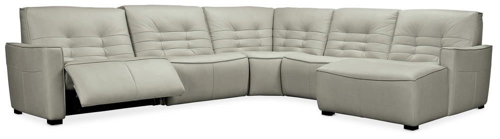 Hooker Furniture - Right Arm Facing Chaise Sectional with Two Recliners, Five Piece