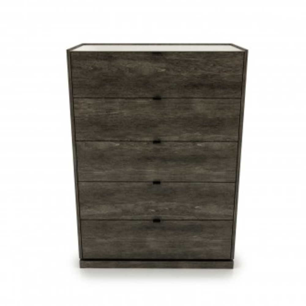 Huppe - Five Drawer Chest w/ Lacquered Glass