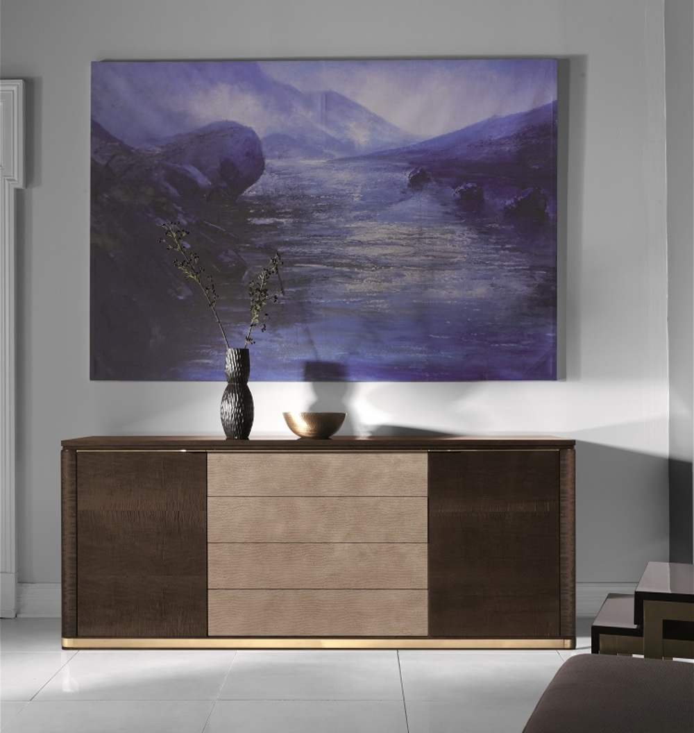 Hurtado - Santa Barbara Credenza with Wooden Top & Leather Front